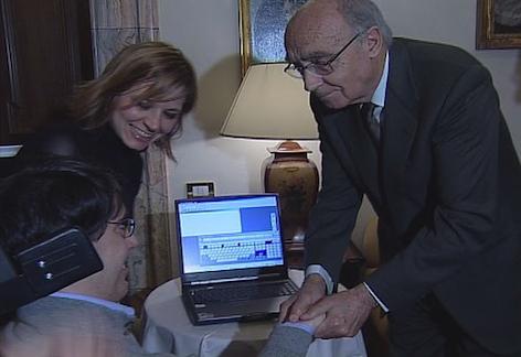 Josè Sarmago saluta Luca Coscioni