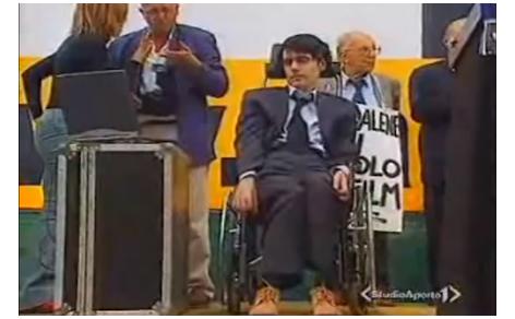 Luca Coscioni durante una manifestazione radicale