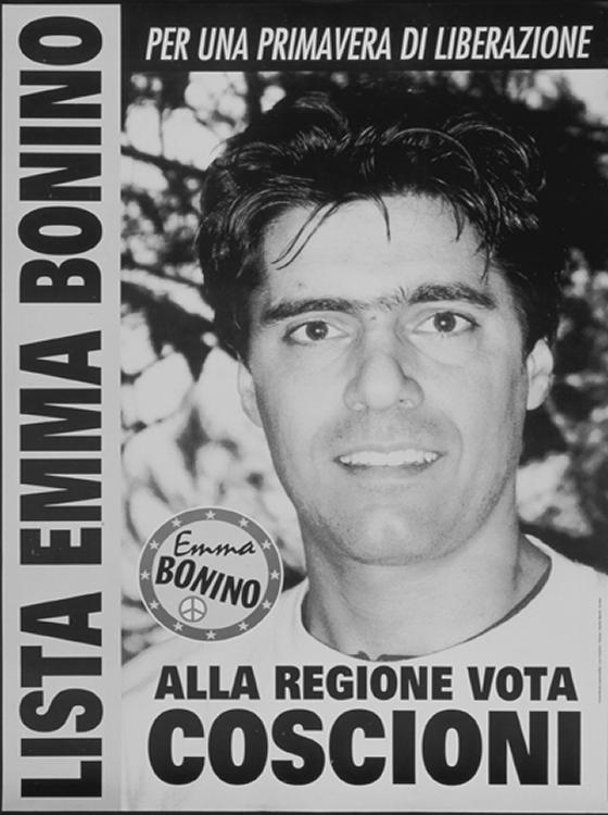 Manifesto per la campagna elettorale di Luca Coscioni, candidato della Lista Bonino alla presidenza della Regione Umbria.