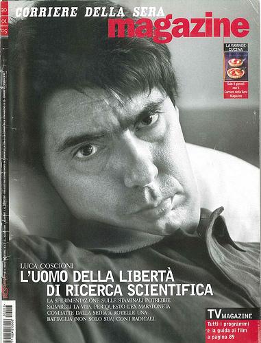 Copertina Corriere della Sera Magazine: Luca Coscioni. L'uomo della libertà di ricerca scientifica